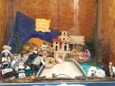 Presepe ambientato nella Sora antica, realizzato dalla scuola dell'infanzia, dalla primaria e dalla secondaria dell'Istituto Comprensivo 1°, esposto in via Branca.